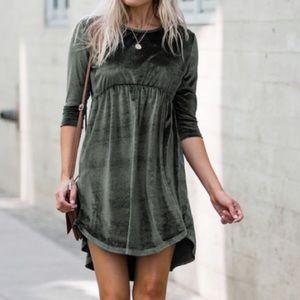 Amarillys alma olive velvet dress L